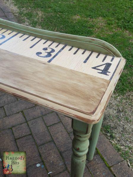 DIY Tape Measure Side Table | www.raggedy-bits.com