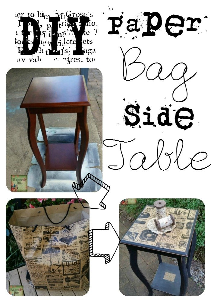 DIY Paper Bag Side Table | www.raggedy-bits.com