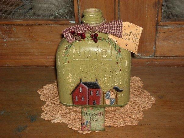 Prim Saltbox House Old Bottle |www.raggedy-bits.com