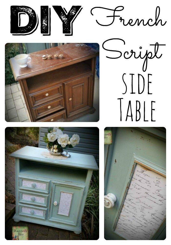 DIY French Script Side Table | www.raggedy-bits.com